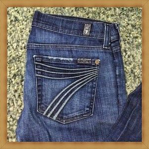7 for All Mankind Dojo 28 Blue Wide Leg Jeans